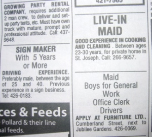 "Barbados Women Need Not Apply: ""Preferably male"", ""2-Man Crew"", ""Boys for General Work"""