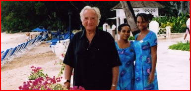 """Charming"" Sandy Lane waitresses Rehanna and Francia with a furious Michael Winner"