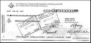 One cheque for TT$5 million to Patrick Manning's PNM (Trinidad). Keltruth Blog tells how your Barbados tax dollars ended up covering CL Financial Group's political donations.