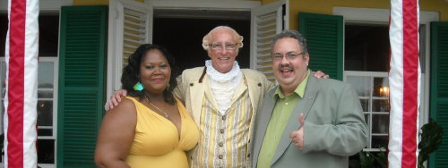 The Lady Bourne, President George Washington, Lord Bourne (missing from photo: Escaped slave Oney Judge - owned by George Washington - Reward if returned.