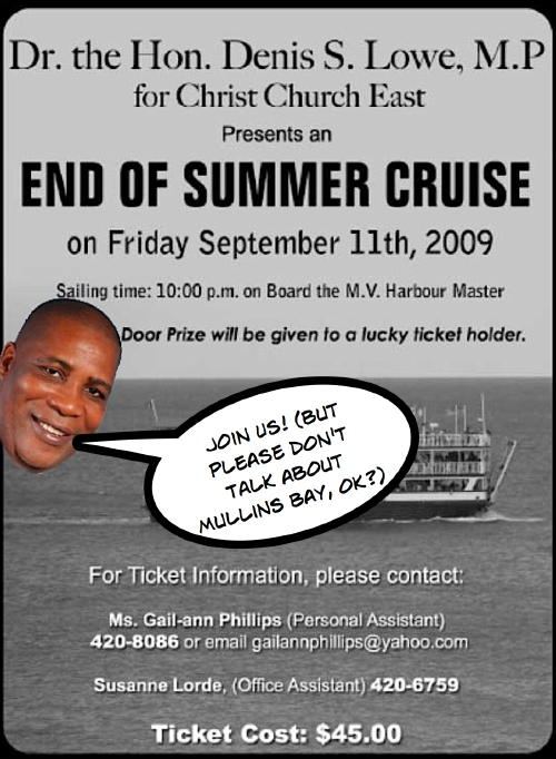 Minister Lowe's Cruise Vessel Usually Turns At Mullins Bay!