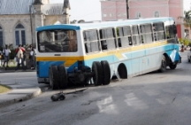 Previous accident: Drivers should be careful not to apply de brakes too hard as the wheels are only semi-attached to the bus!