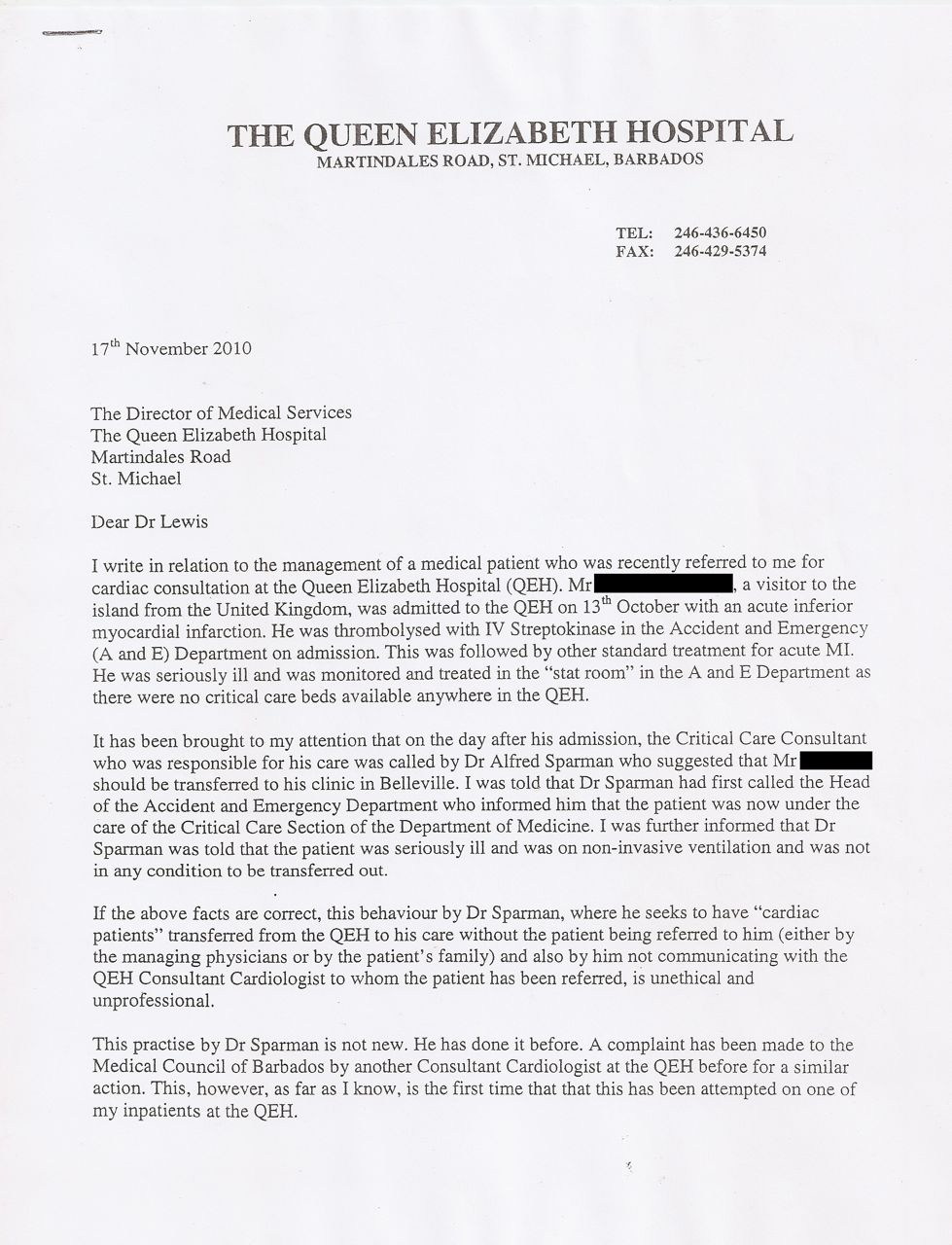 The Sparman Affair: We print Dr. Ishmael's letter for which he was ...