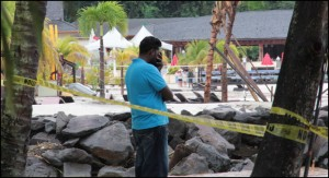 Ricky Small cries for his dear wife Joselle, who was taken by the raging waters at Buccament Bay Resort.