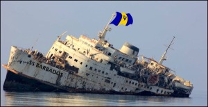 sinking ship barbados flag DLP