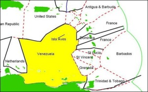 The yellow area shows the Venezuelan Economic space, with the effect of Aves Island/Rock.
